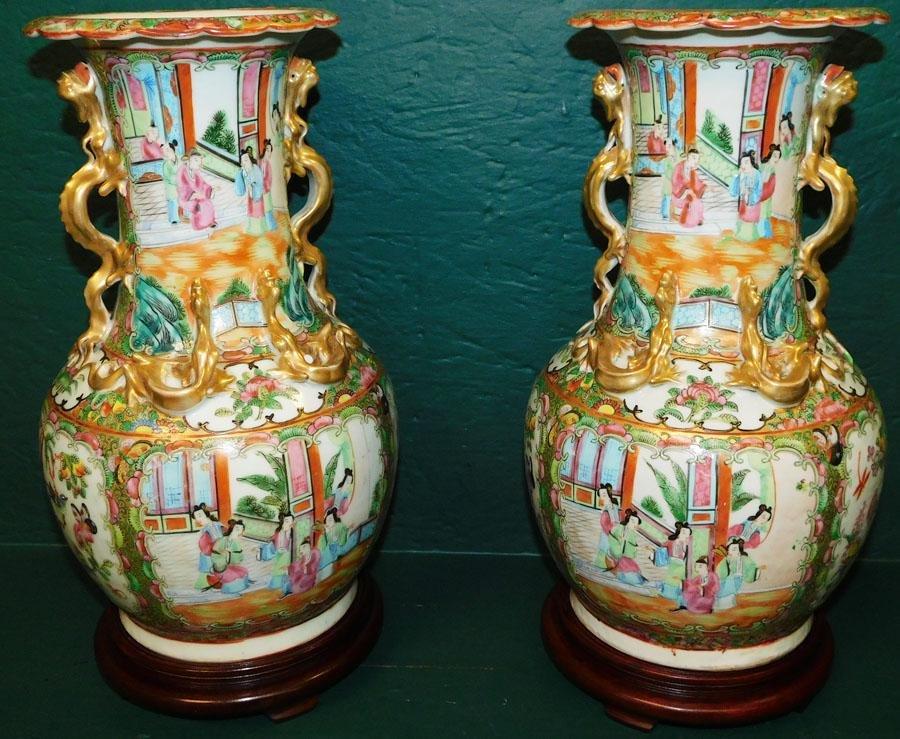 Pair 19th C Rose Mandarin Vases On Stands