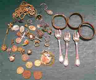 Lot Of Costume Jewelry & Foreign Coins