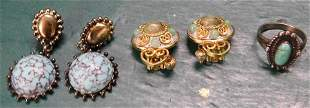 Two Pair Designer  Earrings & Sterling Ring