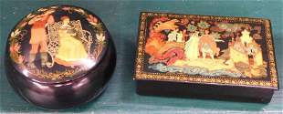 Two Hand Painted Lacquered Russian Boxes