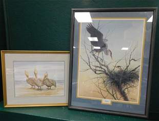 Two Signed & Numbered Watercolors Of Birds