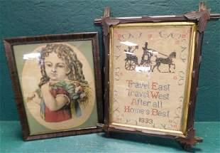 Print of Little Girl & Cross Stitch Needlework