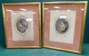 Two Framed Colored Portrait Engravings