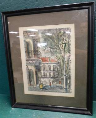 Framed Watercolor Street Scene