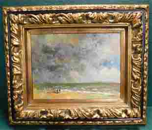 Oil on Canvas Of Beach Scene Signed