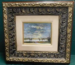 Oil on Canvas Of Boat Dock Scene