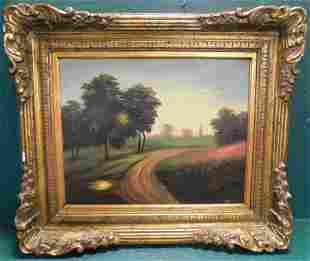 Oil on Board Of Country Road Scene Signed