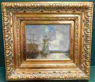Oil on Canvas Boat Scene Signed