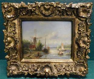 Oil on Board Dutch Boat Scene