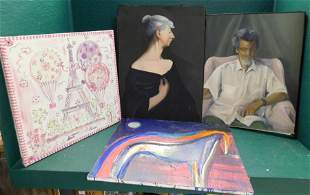 Lot Of Four Oil on Canvases
