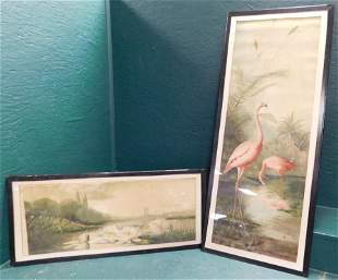 Two Watercolors Behind Glass