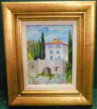 Oil on Board Of French Chateau Scene Signed