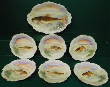 7 Pc HP Limoges Blakeman & Henderson Fish Set