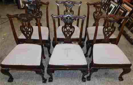 Set 6 Henredon Mahogany Ball & Claw Feet Chairs