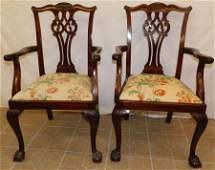 Pair Mahogany Chippendale Ball  Claw Arm Chairs