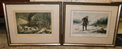 2 Framed Currier & Ives Prints
