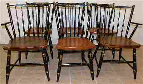 Set of 6 Painted Signed Hitchcock Dining Chairs