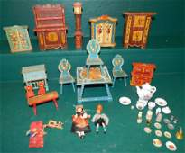 Lot Vintage Painted Doll Furniture & Accessories