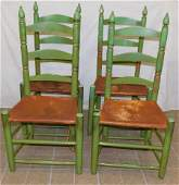 4 Pntd Ant Ladder Back Chairs w Leather Seats