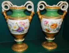 Pair of Antique Porcelain Meissen Vases