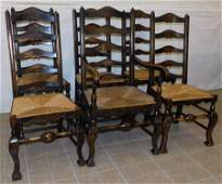 6 Wal Co Fr Rush Bottom Ladder Back Chairs