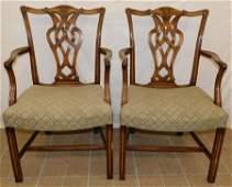 Pr Bleach Mah Straight Chippendale Arm Chairs