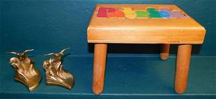 Pair Metal Quail Bookends & Childs Stool