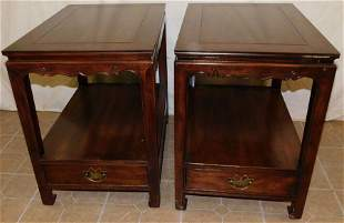 Pair Mahogany Oriental End Tables By Henredon