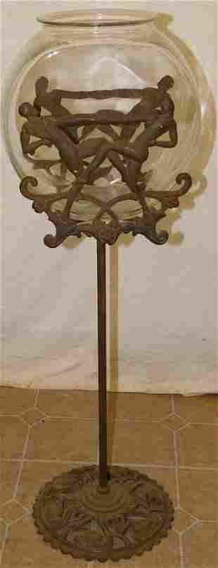 Glass Fish Bowl On Art Nouveau Metal Stand