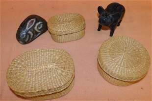 Cast Iron Pig -- Stone Bunny-- Three Grass Baskets