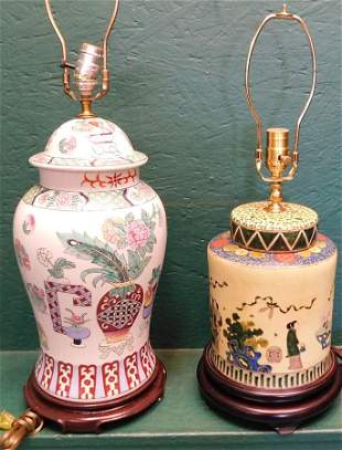 Two Porcelain Covered Urns Made Into Lamps