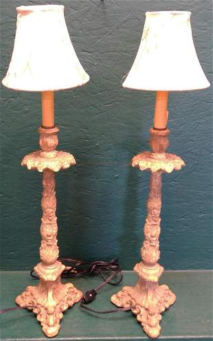 Pair Molded Gesso Candlesticks Made Into Lamps