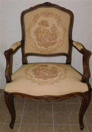 French Carved Walnut Arm Chair W/ Tapestry Upholstery