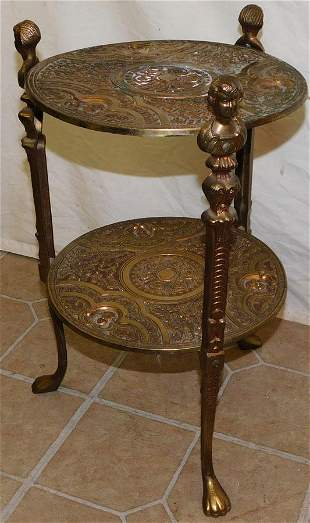Two Tier Figural Metal Stand