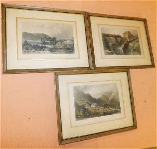 Three Framed Lithographs (Alpine Scenes)