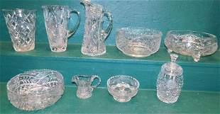 9 Pc Cut Glass & Misc. Glass Items