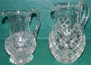 Two Lead Cut Crystal Pitchers