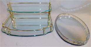 Mirrored Lucite Plateau -- Mirrored Dresser Stand