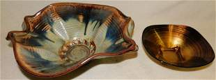 Art glass Bowl & Signed Pottery Bowl