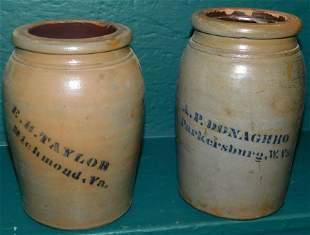 Two Virginia Stone Ware Jars