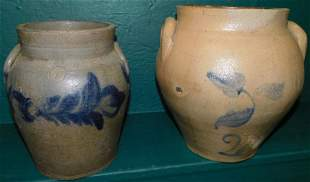 Two Blue Decorated Crocks