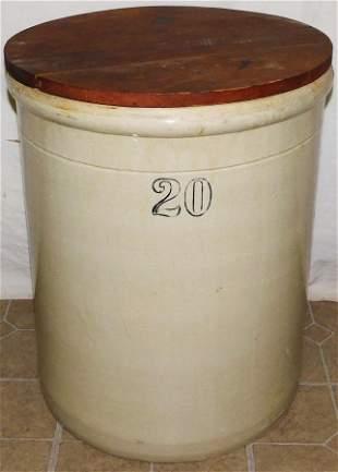 20 Gallon Stone Ware Crock W/ Lid