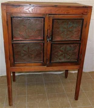 Antique 8 Panel Tin Punch Pie Safe