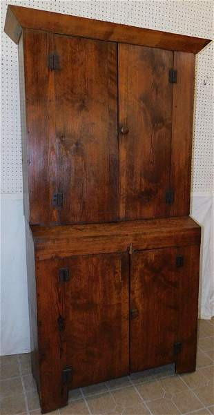 Antique Primitive Heart Pine Cupboard