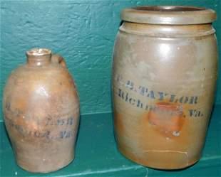 Stone Ware Jar (Has Crack) & Jug (Richmond)