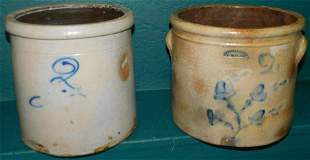Two 2 Gallon Blue Decorated Stone Ware Crocks