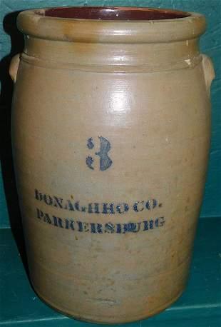 3 Gallon Blue Decorated Stone Ware Crock