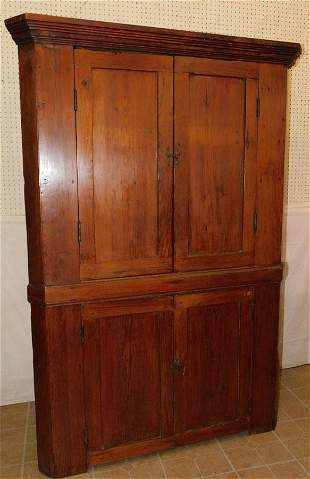 Antique Prim NC Heart Pine Corner Cupboard
