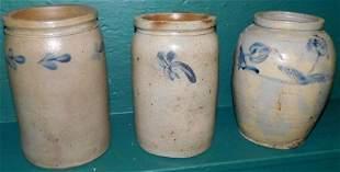 Three Blue Decorated Stone Ware Crocks