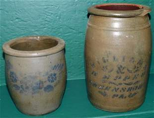 Two Blue Decorated Stone Ware Crocks